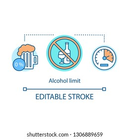 Alcohol limit concept icon. Abstinence. No alcohol idea thin line illustration. Forbidden sign with wine, non-alcoholic beer, speedometer. Vector isolated outline drawing. Editable stroke