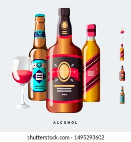 Alcohol liquor beer wine vector graphic illustration