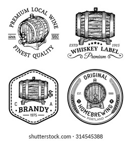 Alcohol logos. Wooden barrels set with drinks signs: cognac, brandy, whiskey, wine, beer. Typographic labels, badges with hand sketched kegs. Used for restaurant, cafe, bar menu.