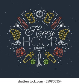 Alcohol monogram in flat style lettering happy hour enjoy drawing with color lines on dark background