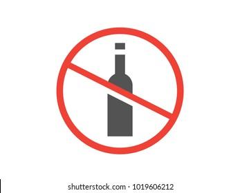 Alcohol prohibition sign. No alcohol vector icon