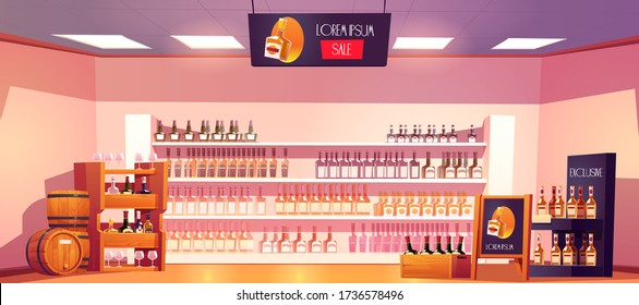 Alcohol shop with bottles, wooden rack, shelves, barrels and advertising stand. Vector cartoon interior of alcoholic drinks market with bottles of wine, beer and whiskey on showcase