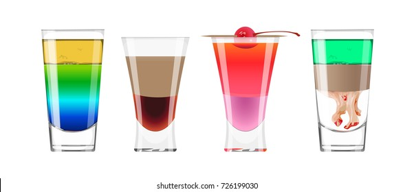 Alcohol shots set. Glasses with fruits, juices or liquer.
