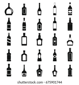 Alcohol simple black silhouette icons set with drink bottles isolated vector illustration