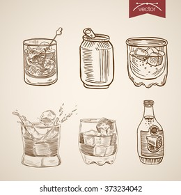 Alcohol spirit mix cocktail glasses can bottle set. Engraving style pen pencil crosshatch hatching paper painting retro vintage vector lineart illustration.