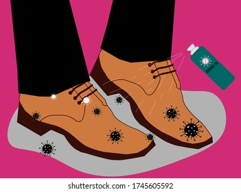 Alcohol spray bottle. Cleaning shoes from coronavirus (COVID-19) and bacteria when arrive home. Flat vector Illustration.