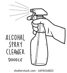 alcohol spray cleaner, spraying doodle style vector illustration.
