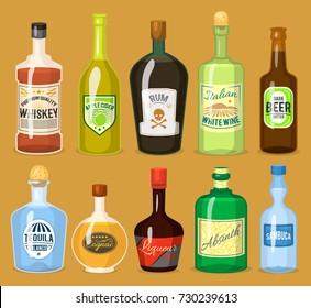 Alcohol strong drinks in bottles cartoon glasses whiskey, cognac, brandy, wine vector illustration