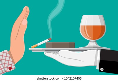 Alcohol and tobacco abuse concept. Hand gives glass of wine and cigarette to other hand. Stop alcoholism. Rejection of smoking. Vector illustration in flat style