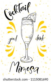 Alcoholc cocktail Mimosa. Party summer poster. Vector background illustration