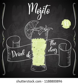 Alcoholc cocktail Mojito. Party summer poster. Vector background illusatration