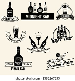 Alcoholic beverages collection. Vector set.