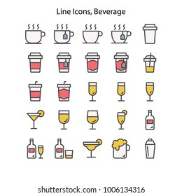 Alcoholic beverages Drinks Food UI Pixel Perfect Well-crafted Vector Thin Line Icons. The illustrations are a vector.