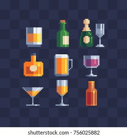 Alcoholic beverages symbols. Wine, champagne, cognac, glass and beer mug. Isolated vector illustration collection. Pixel art icons set.