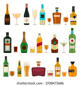 Alcoholic bottles and glasses. Alcohol cocktail drinks, champagne, beer, brandy and martini, gin and cognac. Bar menu flat vector icons set