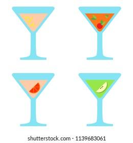 Alcoholic cocktail beverage set. Vector illustration. EPS 10.