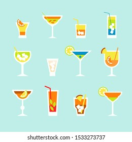 alcoholic cocktail beverage vector set collection