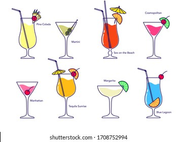 Alcoholic cocktail collection - blue lagoon, manhattan, martini, tequila sunrise, pina colada, margarita, sex on the beach, cosmopolitan isolated on white background. Vector illustration