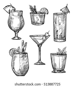 Alcoholic cocktail glass hand drawn sketch vector illustration. Alcohol drink in different glass isolated on white background. Cocktail glass ink style for cocktail bar menu. Vodka cocktail glass