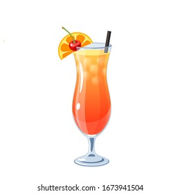Alcoholic cocktail in hurricane glass, vector illustration cartoon icon isolated on white.
