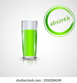 alcoholic cocktails absinthe in shot glasse isolated on white. vector illustration