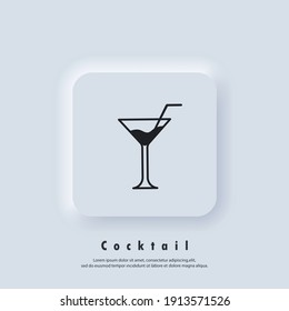 Alcoholic cocktails. Cocktail icon. Cocktail logo. Drink and champagne icon. Vector. UI icon. Neumorphic UI UX white user interface web button. Neumorphism
