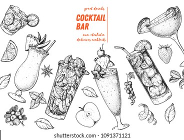 Alcoholic cocktails hand drawn vector illustration. Cocktails sketch set. Engraved style.  Pina colada, mojito, singapore sling, long island iced tea, sidecar.