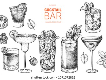 Alcoholic cocktails hand drawn vector illustration. Cocktails sketch set. Engraved style.  Negroni, margarita, mojito, bloody mary, manhattan, mint julep.