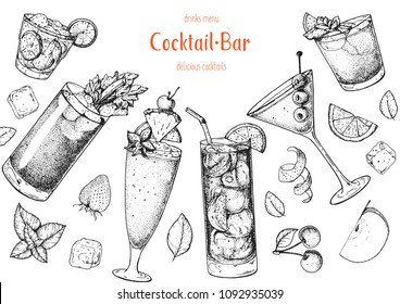 Alcoholic cocktails hand drawn vector illustration. Cocktails sketch set. Engraved style. Caipiroska, bloody mary, singapore sling, long island iced tea, martini, man tai.