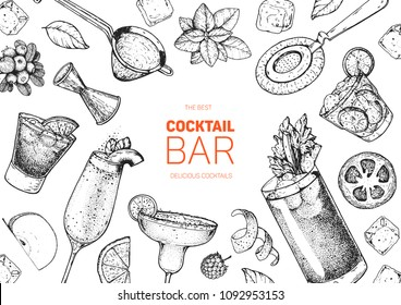 Alcoholic cocktails hand drawn vector illustration. Cocktails sketch set. Engraved style. Bar menu sketch elements. Negroni, bellini, margarita, bloody mary, caipiroska.
