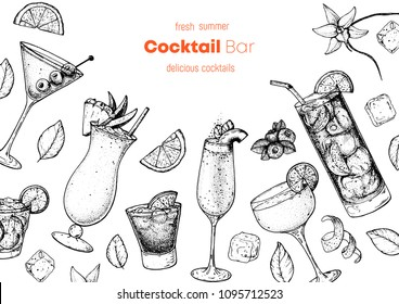 Alcoholic cocktails hand drawn vector illustration. Cocktails sketch set. Engraved style. Dry martini, pina colada, bellini, daiquiri, long island iced tea.