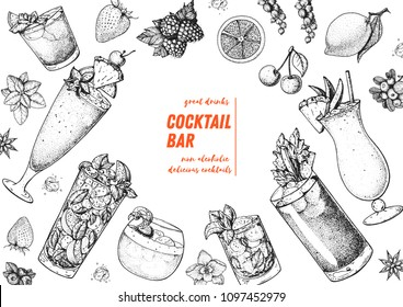 Alcoholic cocktails hand drawn vector illustration. Cocktails sketch set. Engraved style. Mai tai, singapore sling, mojito, whisky sour, mint julep, bloody mary, pina colada.