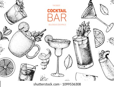 Alcoholic cocktails hand drawn vector illustration. Cocktails sketch set. Engraved style. Mai tai, moscow mule, margarita, bloody mary, bellini.