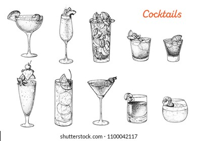 Alcoholic cocktails hand drawn vector illustration. Cocktails sketch set. Engraved style. Sidecar, bellini, mojito, mai tai, negroni, singapore sling, tom collins, cosmopolitan, sazerac, whisky sour.