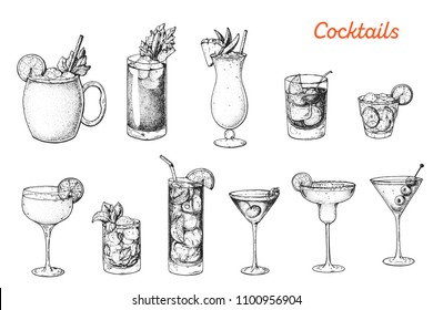 Alcoholic cocktails hand drawn vector illustration. Sketch set. Moscow mule, bloody mary, pina colada, old fashioned, caipiroska, daiquiri, mint julep, long island iced tea, manhattan, margarita.