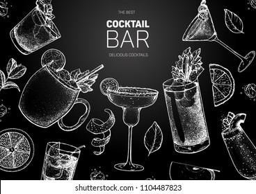 Alcoholic cocktails hand drawn vector illustration. Cocktails sketch set. Engraved style. Mai tai, moscow mule, margarita, bloody mary, bellini. Chalkboard design.