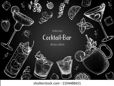 Alcoholic cocktails hand drawn vector illustration. Cocktails sketch set. Engraved style. Chalkboard design.