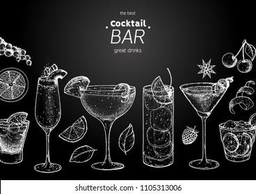 Alcoholic cocktails hand drawn vector illustration. Cocktails sketch set. Engraved style. Bellini, sidecar, tom collins, martini, negroni, caipiroska. Chalkboard style.