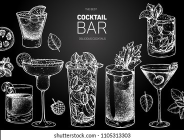 Alcoholic cocktails hand drawn vector illustration. Cocktails sketch set. Engraved style. Negroni, margarita, mojito, bloody mary, manhattan, mint julep. Chalkboard design.