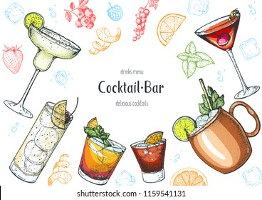 Alcoholic cocktails hand drawn vector illustration. Cocktails set. Menu design elements.