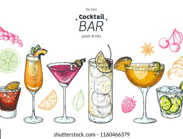 Alcoholic cocktails hand drawn vector illustration. Cocktails set. Menu design elements.Bellini, sidecar, tom collins, martini, negroni, caipiroska.