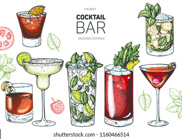 Alcoholic cocktails hand drawn vector illustration. Cocktails set. Menu design elements.Negroni, margarita, mojito, bloody mary, manhattan, mint julep.