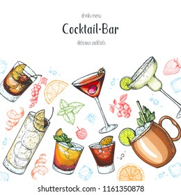 Alcoholic cocktails hand drawn vector illustration. Cocktails set. Menu design elements. Tom collins, mai tai, manhattan, negroni, moscow mule, margarita.