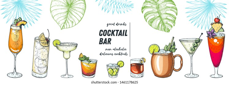 Alcoholic cocktails hand drawn vector illustration. Cocktails and palm leaves set. Menu design elements. Summer bar menu.