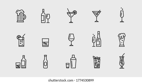 Alcoholic cocktails icons set. Simple outline cocktails icons isolated on white background. Set includes beer, mojito, whiskey. Icons set for restaurant, pub, bar. Vector illustration