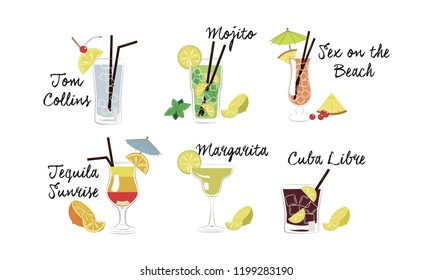 Alcoholic cocktails set, Tom Collins, Mojito, Sex on the beach, Tequila sunrise, Margarita, Cuba libre vector Illustration on a white background