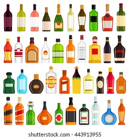 Alcoholic Drinks Bottles Large Vector Set
