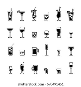 Alcoholic drinks and cocktails, black and white icons set