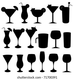 Alcoholic drinks, cocktails and glasses