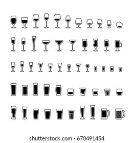 Alcoholic drinks glasses black and white icons set